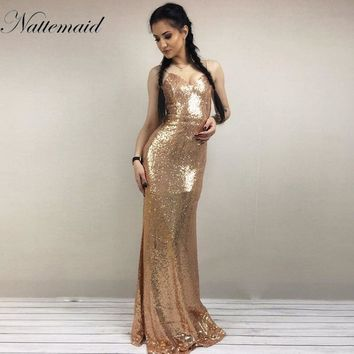 NATTEMAID 2018 Christmas night Party Dress Sexy Women Gold Sequin Long Dresses Floor length Backless Maxi Vestido De Festa