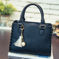 Black Leather Vintage Shoulder Bag Casual Crossbody Bag Handbag