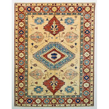 Oriental Shirwan Tribal Persian Wool Rug, Cream/Red