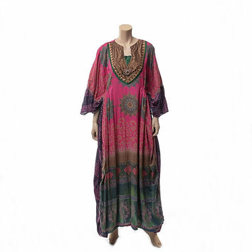 Vintage 80s India Beaded Maxi Dress 1980s Embellished Bib Indian Wedding Gypsy Hippie Festival Draped Ethnic Caftan Boho Dress / One Size