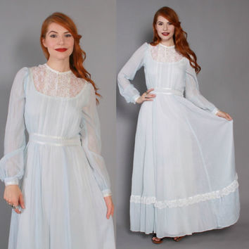 70s GUNNE SAX Maxi DRESS / 1970s Pale Blue Cotton Gauze Lace Trim Boho Hippie Dress