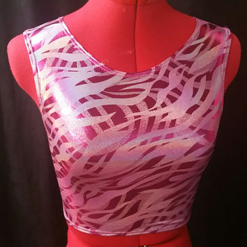 READY TO SHIP Pink Stripe Holographic Sleeveless Crop Top Extra Small/Small