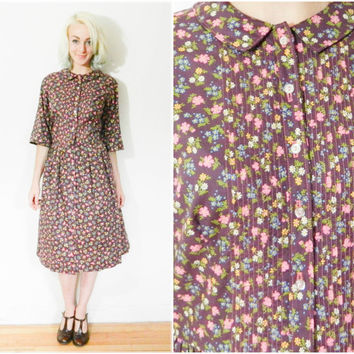 60s vintage day dress / Peter pan collar purple floral / Button down Greentree 3/4 sleeve mod mid century knee length shirt dress size L