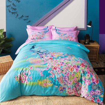 100% Cotton deer peacock print boho Bedding set Queen/King Size Bed set Duvet Cover Bed sheet set  pillowcases