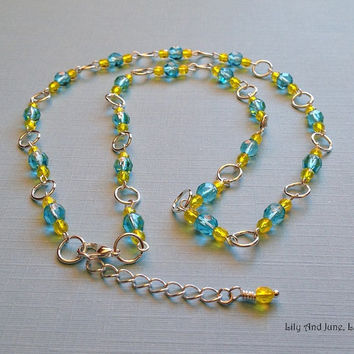 Czech Glass Necklace – light turquoise blue and yellow glass beads linked w/ silver plated rings. Beautiful, delicate, simple, gift for her
