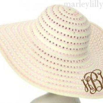 Monogrammed Light Pink Swirl Floppy Hat