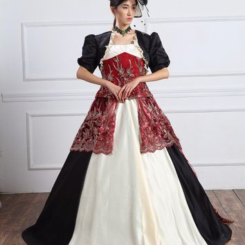 Georgian 18thc Marie Antoinette Day Court Gown Dress Rococo and Carnivale Gowns Steampunk Victorian Costumes