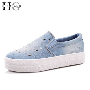 Flat Shoes Women 2016 Summer Ladies Slip On Causal Denim Espadrilles Diamond Flats Sap