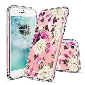 CREYV2S iPhone 6 Case, iPhone 6s Cover, MOSNOVO Floral Flower Blossom Pattern Printed Clear Design Transparent Plastic Hard Back Case with Soft TPU Bumper Protective Case Cover for iPhone 6 6s (4.7 Inch)