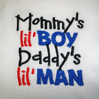Mommy's Lil Boy Daddy's Lil Man Bib  Baby by grinsandgigglesbaby1
