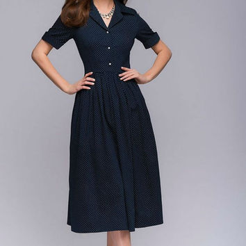 Retro Polka Dot Dress. Knee Length Dress.Flared Skirt Dress Mod