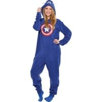 8fc51dacd4e1 Adult Captain America One Piece Pajama from Party City | Epic