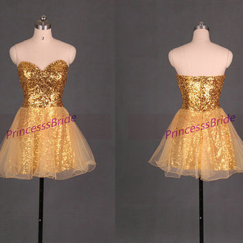 Short gold sequins and tulle homecoming dress,2014 unique chic prom dresses under 100,best sweetheart women gowns for holiday party hot.