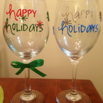 Happy Holidays Hand-painted Wine glass