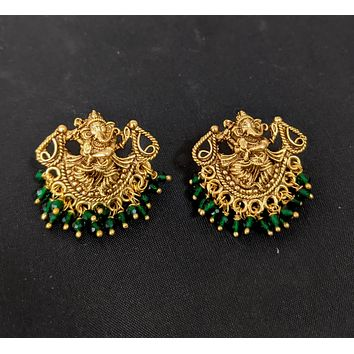 Antique matte gold finish  Lord Ganesha stud earring