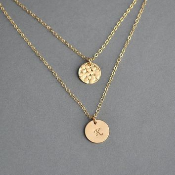Layering Necklace, Layered Disc Necklace, Initial Necklace Layered, Personalized Disc, Monogram