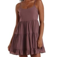 Rose Taupe Strappy Open Back Babydoll Dress by Charlotte Russe