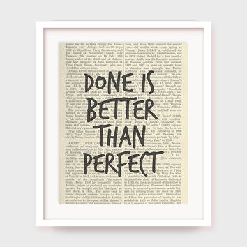 Motivational Printable Quote, Done is Better Than Perfect, Inspirational Quote Printable, Office Wall Decor, Office Art, Motivational Art