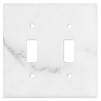 Italian Calacatta Gold Marble Double Toggle Switch Wall Plate / Switch Plate / Cover - Polished