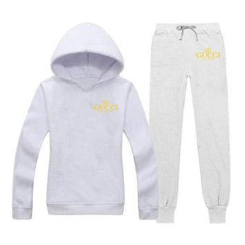 GUCCI Fashion Casual Woman Print Hoodie Top Sweater Pants Trousers Set Two-piece Sportswear G