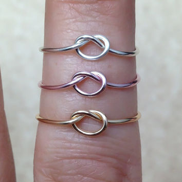 Set of 3 Knot rings, infinity knot rings, dainty knot ring, small knot ring, reversible ring, adjustable knot ring, Tie the knot rings