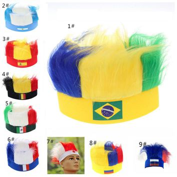 New 2018 World Cup Hollow Flag Printed Headband Football Fans Cheerleadings Passion Wig Sweat Absorption Light
