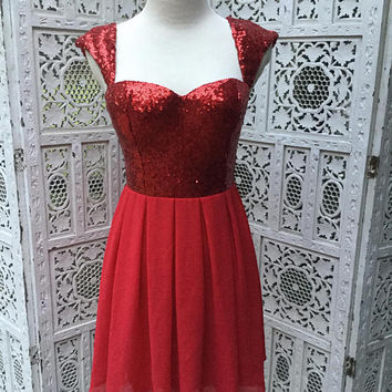 Red Sparkle Sequin Dress Sheer Sweetheart Neckline Holiday Valentine Christmas Under the Mistletoe Size Small Fit & Flare