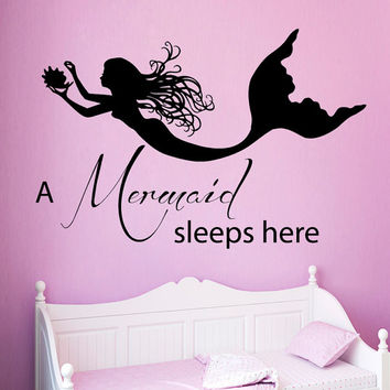 Wall Decals Quote A Mermaid Sleeps Here Water Nymph Bathroom Spa Beauty Salon Home Vinyl Decal Sticker Baby Girl Room Bedding Decor kk827