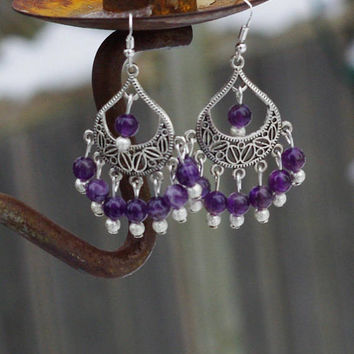 Amethyst Earrings ~ Purple Chandelier Earrings ~ Tibetan Silver ~ Statement Jewellery ~ Healing Crystals ~ Meditation ~ Semi Precious Stones