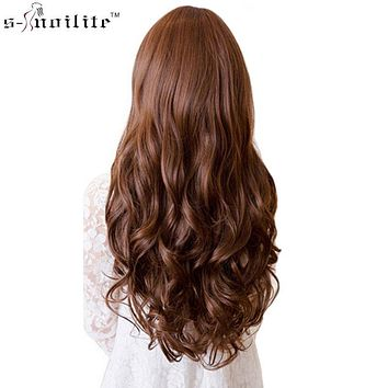 """17/24/27/29"""" Long Curly Synthetic Clip in Hair Extensions Half Full Head Hairpiece 5 clips One Piece Black Brown Blonde"""