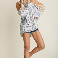 Umgee USA Open Crochet Sleeve Blue Hippie Top