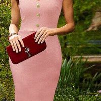 Pink Short Sleeve Bodycon Midi Dress with Buttons