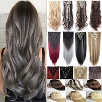 8PC 18 Clips Clip In Hair Extensions Hairpiece Hair Extentions Soft Hair Décorations Christmas