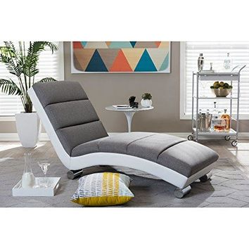 Baxton Studio Percy Modern Contemporary Fabric & Faux Leather Upholstered Chaise Lounge