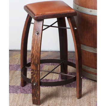 "26"" Stave Stool w/ Tan Leather Seat (Made from Wine Barrels)"