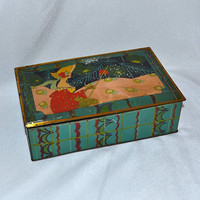 Canco Biscuit Tin - Lady w/ Parasol - As Seen in Cottage Journal Magazine - Vibrant Colors