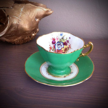 Antique Signed Hammersley green tea cup and saucer, floral F Howard teacup, English bone china tea set, green and gold serving