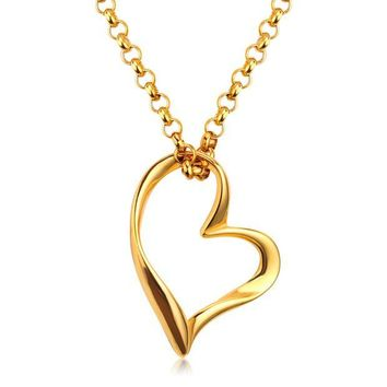 DK7G2 2017 New Products Fashion Chain Necklace Titanium Steel Heart Puzzle Pendant Lover Necklaces For Women/Girl