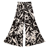 High Elastic Waist Floral Print Wide Leg Pants