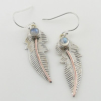 Moonstone Sterling Silver & Copper Leaf Earrings