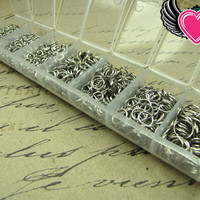 1500 pcs Antique Silver Open Jump Rings Set with Box 3-8mm