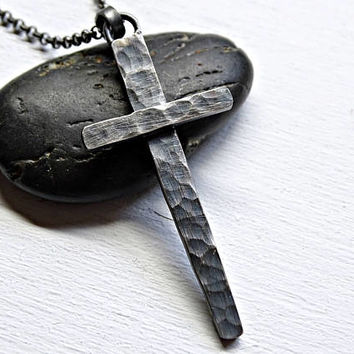 hammered cross necklace silver, black silver cross, mens cross pendant, rustic cross necklace, cool mens necklace, unique gift for him