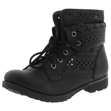 Rock and Candy by Zigi Womens Laser Cut Faux Leather Fold Over Combat Boots