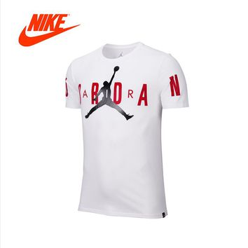 Original New Arrival Authentic NIKE Air Jordan STRETCHED Mens T-shirts Short Sleeve Male White Leisure Sportswear Breathable