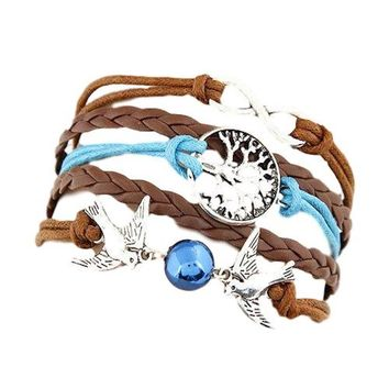 Multi 5 Layer Infinity, Tree of Life, Double Birds Charms Wrap Bracelet Faux Brown/Blue  Leather/Suede