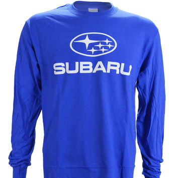 Subaru Logo on a Blue Long Sleeve T Shirt