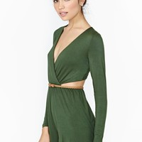 Nasty Gal Eclipse Shadow Romper - Olive