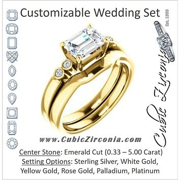 CZ Wedding Set, featuring The Luzella engagement ring (Customizable 5-stone Design with Emerald Cut Center and Round Bezel Accents)