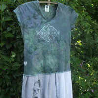FUDGE A Christmas Story Recycled T shirt Dress Medium Large Green Cool Boho Bohemian Upcycled Clothing  Patchwork Hippie Handmade