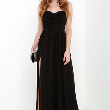 Moonlight Serenade Black Strapless Maxi Dress